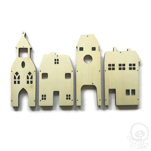 Fa dekoráció - Összefűzhető házikók - nagy