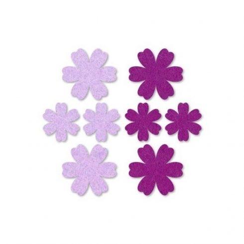 Filc díszek - Virágok - lila