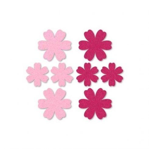 Filc díszek - Virágok - pink