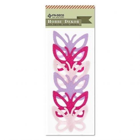 Filc díszek - Pillangó - pink