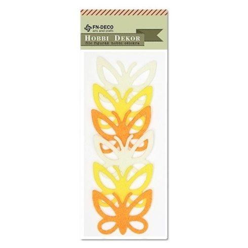 Filc díszek - Pillangó - sárga