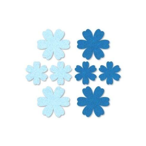 Filc díszek - Virágok - kék