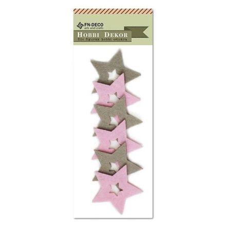 Filc díszek - csillagok rózsaszín-szürke