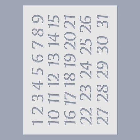 Stencil - Naptár számok -15x20cm