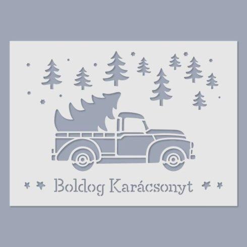 Stencil - Karácsonyi teherautó -15x20cm
