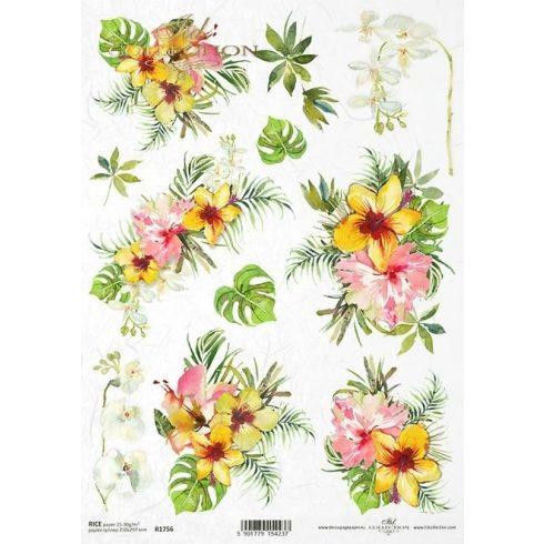 Rizspapír A4 - Trópusi virágok