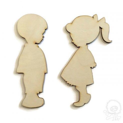 Fa figura-kisfiú és kislány