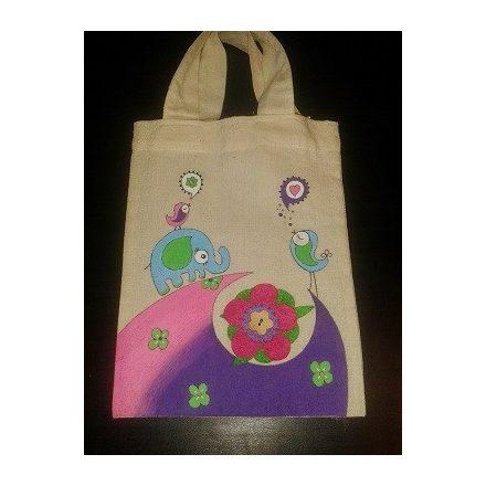 Textil táska - festett elefántos - ÖTLET