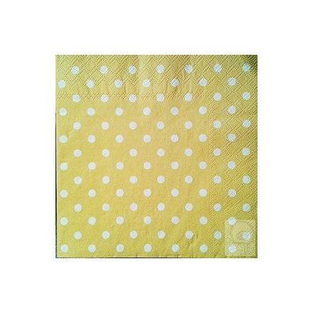 Textúrás szalvéta -  Pöttyös sárga