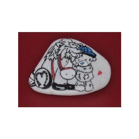 Festett kő - POSCA tollal -lovacskás kisgyerek - ÖTLET