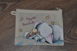 Textil tartó - festett kiselefánt