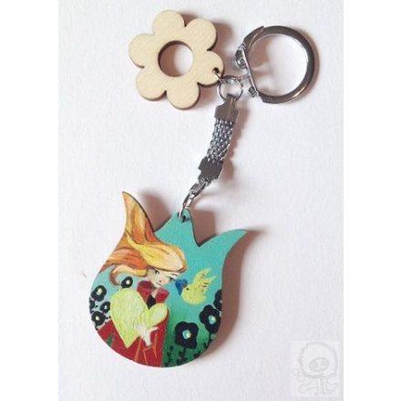 Festett tulipán kulcstartó