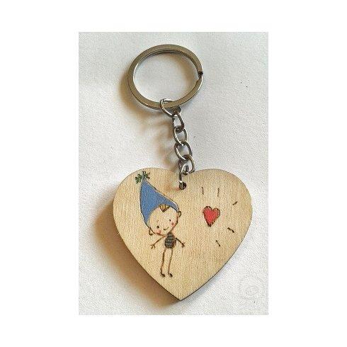Kulcstartó - Pirográfozott szív