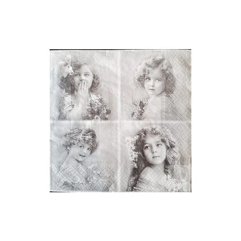 Szalvéta normál méretű (33X33cm) - Leány portrék