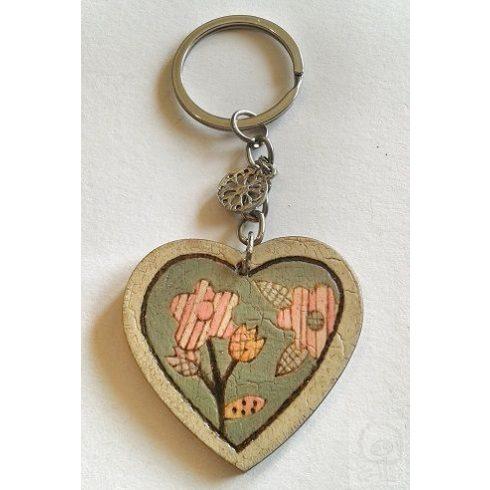 Kulcstartó - Pirográfozott, festett szív