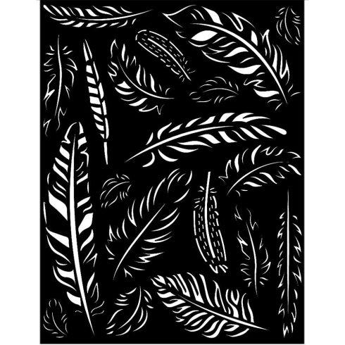 Media stencil - Amazóniai tollak 20x25cm