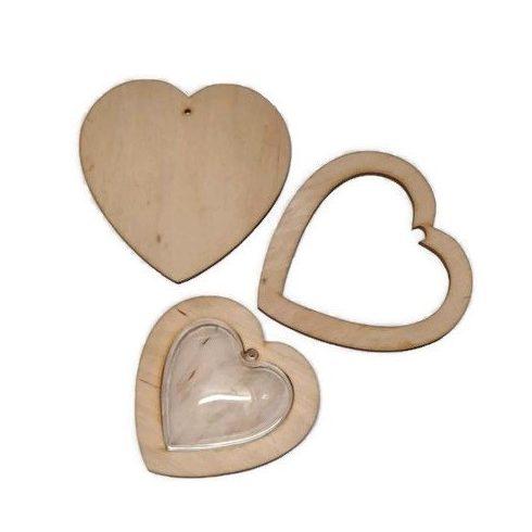Fa szív kerettel és akril szívvel