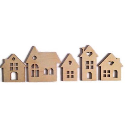 Fa házikók - 5db