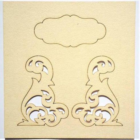 Chipboard - Papír dekoráció - Inda minta cimkével