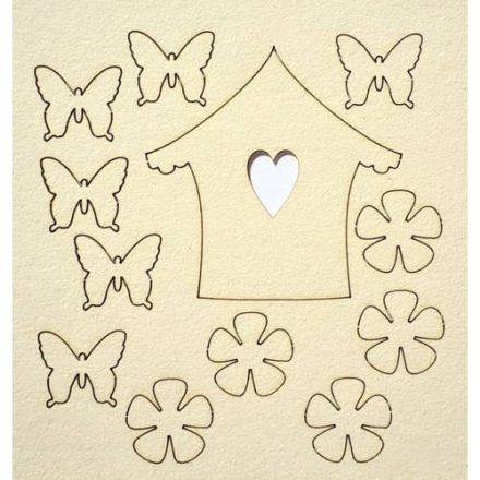 Chipboard - Papír dekoráció - Pillangók, virágok házikó