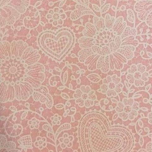 Csipkemintás puha filc anyag rózsaszín 40x30cm