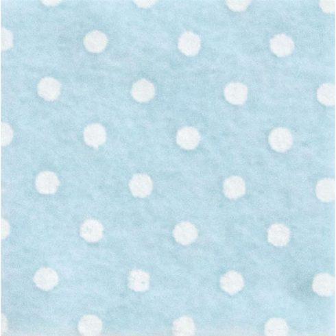 Pöttyös  puha filc anyag világoskék - fehér 40x30cm