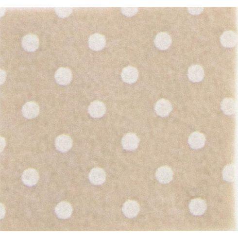 Pöttyös puha filc anyag bézs - krém 40x30cm