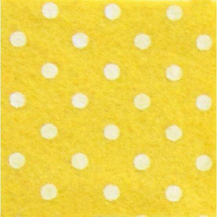 Pöttyös puha filc anyag sárga - fehér 40x30cm