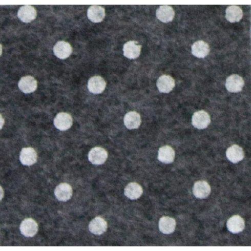 Pöttyös puha filc anyag sötétszürke melange - fehér 40x30cm