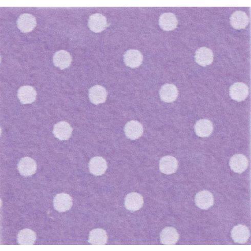 Pöttyös puha filc anyag lila - fehér 40x30cm