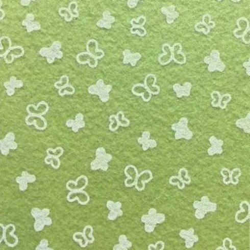 Pillangó mintás puha filc anyag zöld - fehér 40x30cm