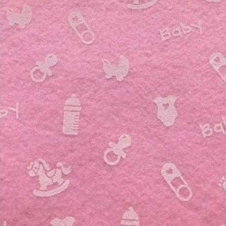 Baby mintás puha filc anyag - rózsaszín 40x30cm