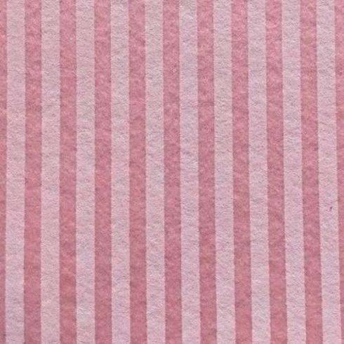 Csíkos puha filc anyag pasztellrózsa - krém 40x30cm