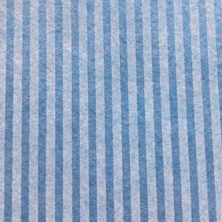 Csíkos puha filc anyag égkék - krém 40x30cm