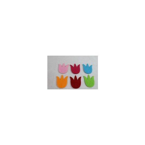 Filc díszek - Színes tulipánok - 6db