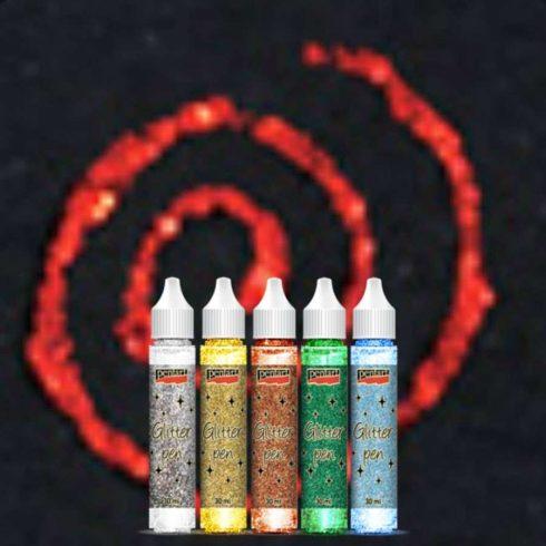 Glittertoll - csillámtoll - piros