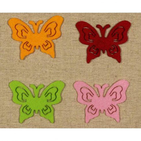 Filc díszek - Pillangók - 4db