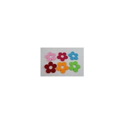 Filc díszek - Színes virágok - 6db