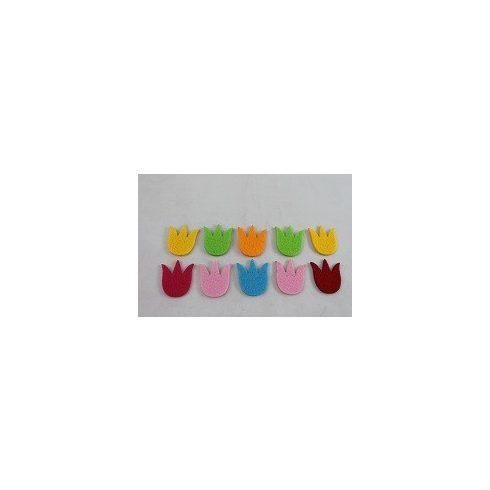 Filc díszek - Színes tulipánok - 10db