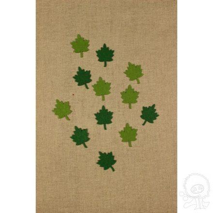 Filc díszek - Zöld falevelek - 12db