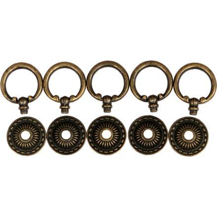 Fém fogantyú, kerek, 49x32 mm (5db/csomag) - bronz