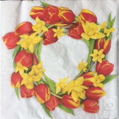 Decoupage szalvéta tulipán koszorú sárga