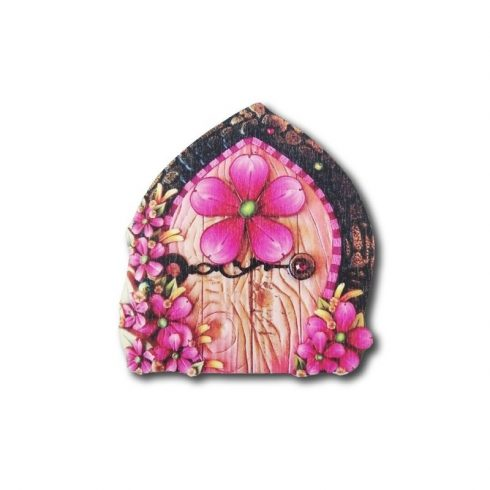 Színes fa tündérajtó - pink