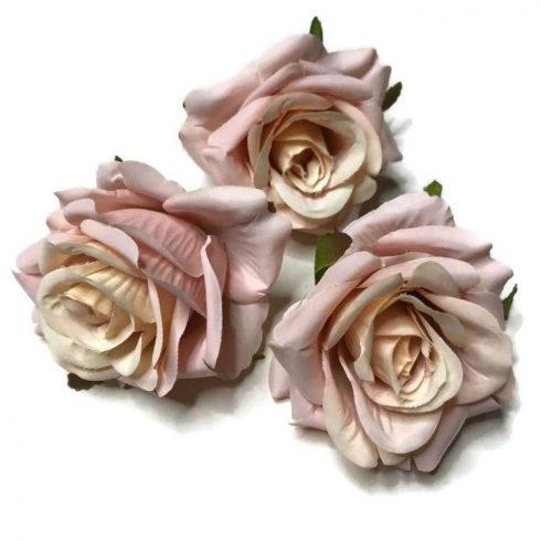 Művirág - kinyílott rózsa -  púder rózsaszín - 3db