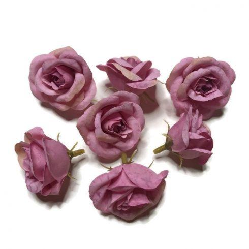 Művirág - kicsi rózsaszín rózsafej - 7 fej