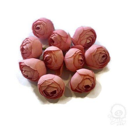 Művirág - mini rózsaszín virágfej - 10 fej