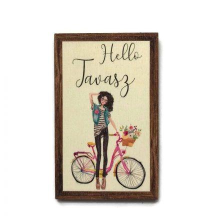 Fa tábla - Hello tavasz biciklivel
