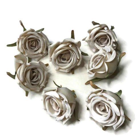 Művirág - kicsi ekrü-lila rózsafej - 7 fej