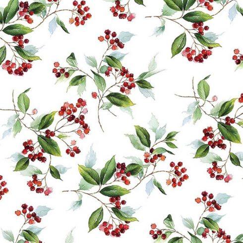 Karácsonyi szalvéta  -  Piros bogyós